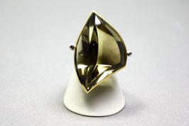 Ring Exclusiv Rauchquarz Gold Silber Unikat Gr. 57