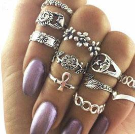 Ring Set Boho Ankh