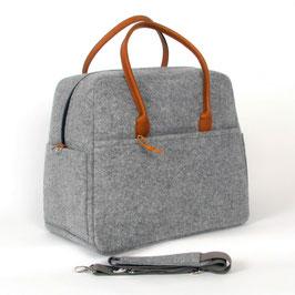 Reisetasche Charlotte hellgrau, Leder natur, Large