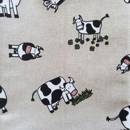 Toile de coton effet lin vaches