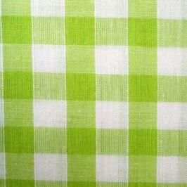 Coton carreaux 9x9 mm blanc vert pomme