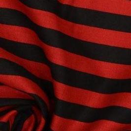 Coton rayures 1 cm rouges et noires