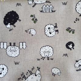 Toile de coton effet lin moutons