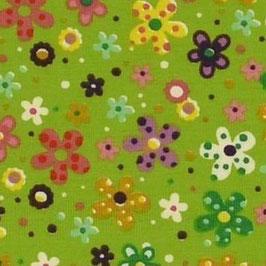 Jersey de coton Bio Tante Ema vert fleurs