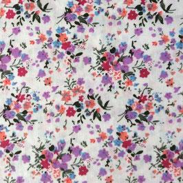 Coton blanc fleurs violettes claires et fuchsia