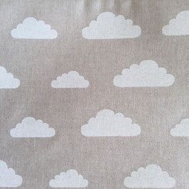 Toile de coton effet lin nuages blancs