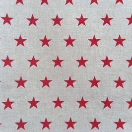 Toile de coton effet lin étoiles rouges