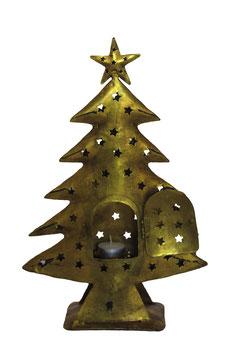Goud metalen kerstboom met waxinelichthouder