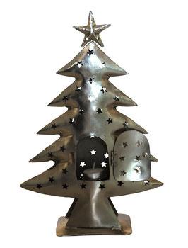 Zilver metalen kerstboom met waxinelichthouder