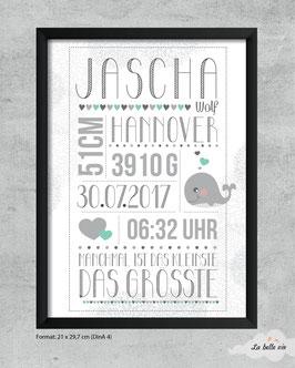"Geburtsdatenprint ""Wunschmotiv"" 21 x 29,7 cm"
