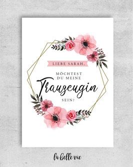 """Karte """"Trauzeugin / Trauzeuge floral Ornament"""" 10,5 x 14,8 cm"""