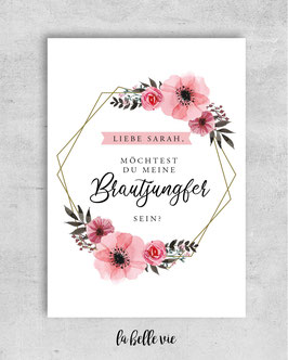 "Karte ""Brautjungfer floral Ornament"" 10,5 x 14,8 cm"