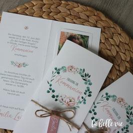 """Einladungskarte Bilderleiste """"green flower"""" 10,5 x 21 cm"""