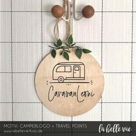 """Holzschild """"Camperlogo + Travelpoints"""" 20 cm"""