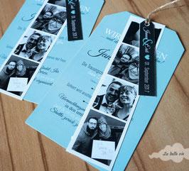 "Einladungskarte ""Anhängeroptik"" 10,5 x 21 cm"