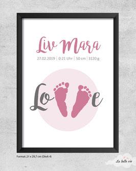 """Geburtsdatenprint """"Fußabdruck"""" 21 x 29,7 cm"""