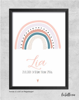 "Geburtsdatenbild ""Regenbogen"" 21 x 29,7 cm"
