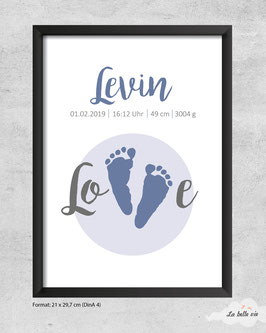 """Geburtsdatenbild """"Fußabdruck"""""""