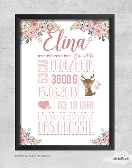 "Geburtsdatenbild ""floral"" 21 x 29,7 cm"