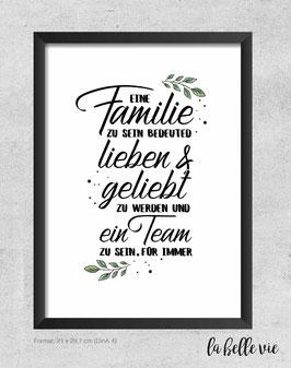 """Print """"Familie bedeutet"""" A5 & A4"""