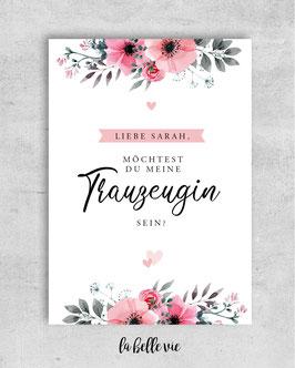 """Karte """"Trauzeuge / Trauzeugin floral"""" 10,5 x 14,8 cm"""
