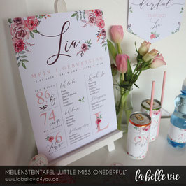 "Meilensteintafel ""Little Miss Onederful"""