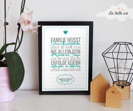"""Print """"Familie heißt"""" 21 x 29,7 cm"""