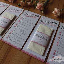 10 Ablaufpläne mit Taschentücher für die Freudentränen (Bordüre)