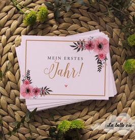 """30 Meilensteinkarten floral """"Mein erstes Jahr"""""""