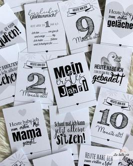 """30 Meilensteinkarten """"Babys erstes Jahr"""" 10,5 x 14,8 cm"""