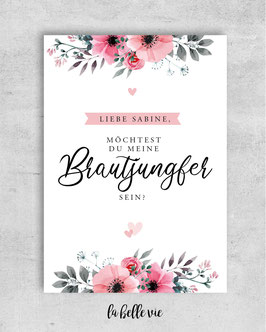 "Karte ""Brautjungfer floral"" 10,5 x 14,8 cm"