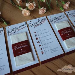 10 Ablaufpläne mit Taschentücher für die Freudentränen (Banderole)