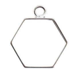 Open Frame Small Hexagon - 1 Öse -  Sterling Silber Platte