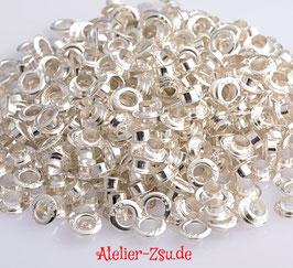 925 Silber Perlen Metallhülsen / Pandora Style silber / 5 mm Loch