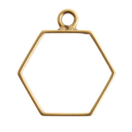 Open Frame Small Hexagon - 1 Öse -   Antik Gold