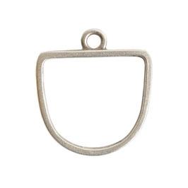 Open Pendant Half Oval - 1 Öse -   Antik Silber