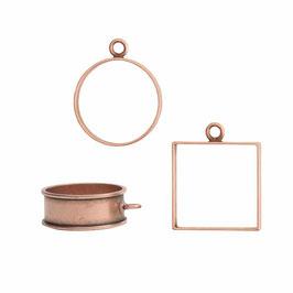 Offene Rahmen Antik Kupfer (1 Kreis, 1 Quadrat, 1 tief groß Lünette)