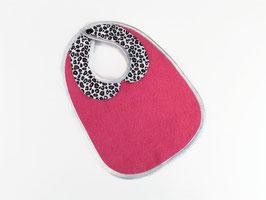 Bavoir col claudine rose fushia, imprimé léopard, biais argenté