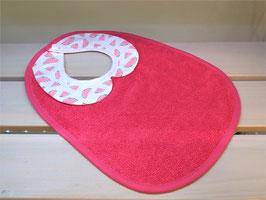 Bavoir col claudine rouge/pasteque/biais rouge