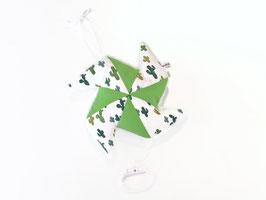 Coussin musical moulin, imprimé cactus vert uni vert