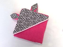 Cape de bain oreilles de lapin rose fushia, léopard