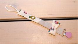 Attache tétine noeud imprimé ananas glace, gris, pince violette
