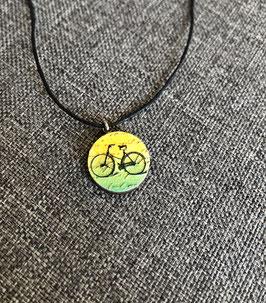 HolzAnhänger Fahrrad gelbgrün