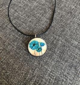 HolzAnhänger Mohnblume blau