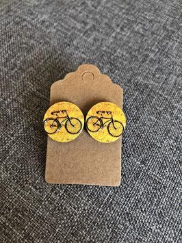 Holzohrstecker Fahrrad gelb