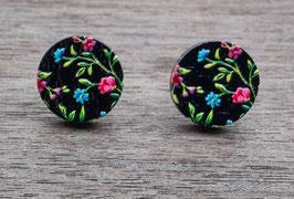 HolzOhrstecker Blüten rosa blau