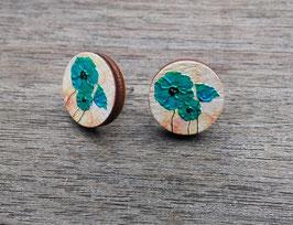 HolzOhrstecker Mohnblume blau