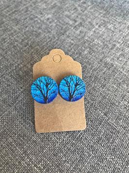 HolzOhrstecker Baum blau
