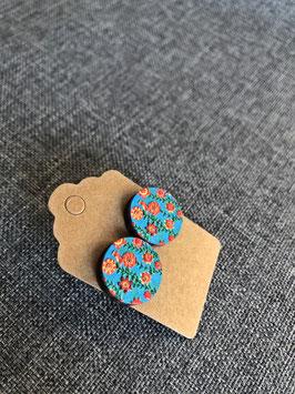 HolzOhrstecker Orange auf Blau