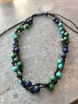 Holzperlenkette Blau-Grün